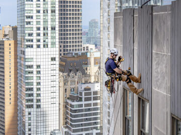 Facade inspection by industrial rope access in downtown Manhattan for Facade Inspection Safety Program