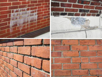 Common symptoms and causes of exterior wall distress include (clockwise, starting upper left corner): efflorescence, spalls, cracks, and mortar deterioration.