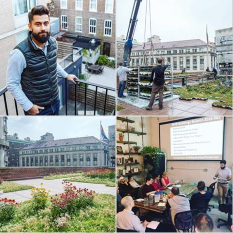 "Clockwise from upper left: RAND Senior Structural Engineer Eugene Gurevich, PE, green roof project in progress, green roof project on the Upper West Side of Manhattan, Eugene teaching ""Building the Rooftop Farm"" at AgTech X."
