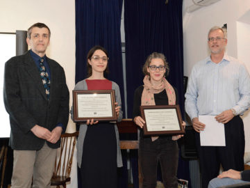RAND Senior Architect Ivan Mrakovcic, Project Architect Valerie Landriscina, and Lincoln Condominium Board President Melanie Smith accept the Ortner Preservation Award for 153 Lincoln Place at the March Park Slope Civic Council meeting.