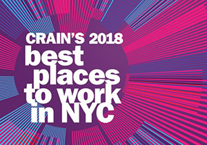 2018 Crain's Best Places to Work in NYC Award Winner